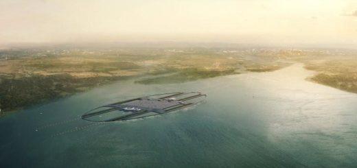 vue aerienne de l'aeroport flottant de londres